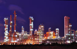 Petrochemical plant. In the night Stock Images