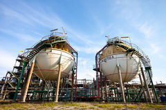 Petrochemical plant. Spheres in factory of petrochemical Stock Image