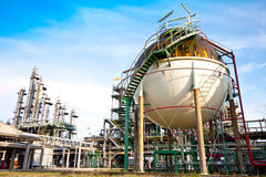 Petrochemical plant. Sphere in factory of petrochemical Royalty Free Stock Photo