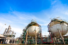 Petrochemical plant. Spheres in factory of petrochemical Royalty Free Stock Image