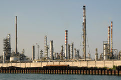 Petrochemical plant. Skyline along an harbor Stock Image