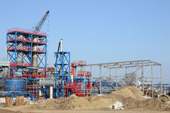 Petrochemical plant construction site Royalty Free Stock Images