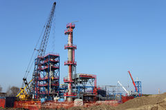 Petrochemical plant construction site Stock Photo