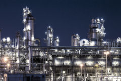 Petrochemical plant at night Stock Image