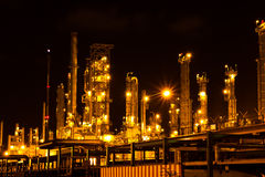 Petrochemical plant in the night. Royalty Free Stock Image