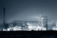 Petrochemical plant in night. Black and white photography Royalty Free Stock Photography