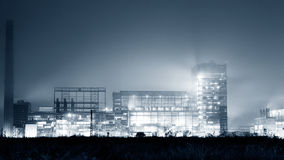 Petrochemical plant in night. Black and white photography Stock Photography
