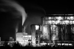 Petrochemical plant in night. Black and white photography Stock Images