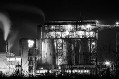 Petrochemical plant in night. Black and white photography Stock Image