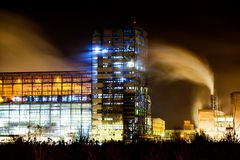 Petrochemical plant in night Stock Images