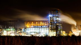 Petrochemical plant in night Royalty Free Stock Photo