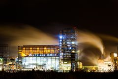 Petrochemical plant in night Royalty Free Stock Images