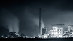 Petrochemical plant in night. Monochrome photography Royalty Free Stock Image