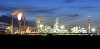 Petrochemical plant at night, oil and gas industrial Royalty Free Stock Photo