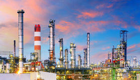 Petrochemical plant at night, oil and gas industrial Royalty Free Stock Photography