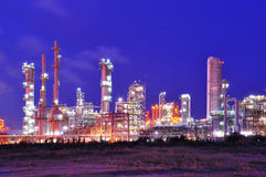 Petrochemical plant. At night in Thailand Stock Photo