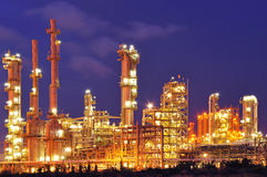 Petrochemical plant. At night in Thailand Stock Photos