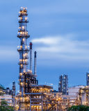 Petrochemical plant. In night time with reflection over the river Royalty Free Stock Photography