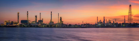 Petrochemical plant in night time. With reflection over the river Stock Photography