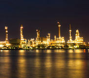 Petrochemical plant at night. Waterfront Royalty Free Stock Photography