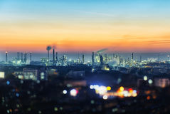 Petrochemical Plant. At nightfall in Anqing, China Stock Images