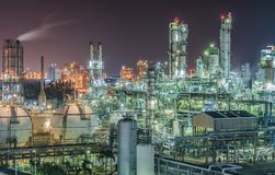 Petrochemical plant. Or oil and gas refinery industry with night time Stock Photos