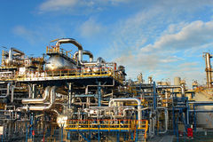 Petrochemical plant. Oil refinery factory over blue sky Royalty Free Stock Photo