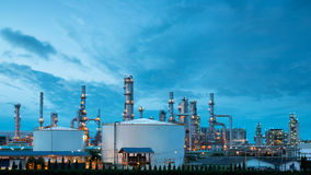 Petrochemical plant oil refinery industry. With blue sky Stock Photos