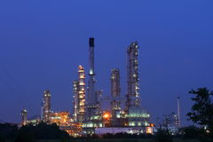 Petrochemical plant oil refinery at twilight Royalty Free Stock Image
