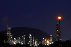 Petrochemical plant oil refinery at twilight Royalty Free Stock Photography