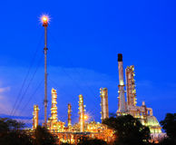 Petrochemical plant oil refinery at twilight Stock Photo