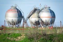 Petrochemical plant oil tanks Stock Photos
