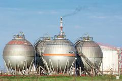 Petrochemical plant oil tanks Royalty Free Stock Photo