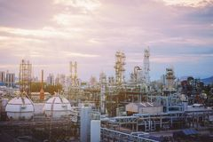 Petrochemical plant. On sky sunset Royalty Free Stock Images