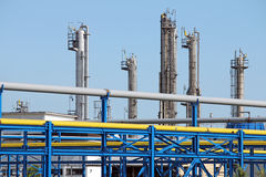 Petrochemical plant pipelines Royalty Free Stock Photo