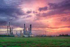 Petrochemical plant in silhouette image. At sunset,Glow light of petrochemical industry on Stock Images