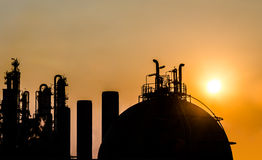 Petrochemical plant in silhouette Stock Photo