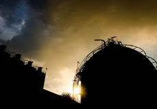 Petrochemical plant in silhouette Royalty Free Stock Image