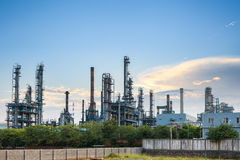 Petrochemical plant skyline at dusk Royalty Free Stock Image