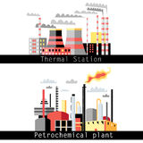 Petrochemical plant and thermal power plant. Graphical illustration of a petrochemical plant and thermal power plant Vector Illustration