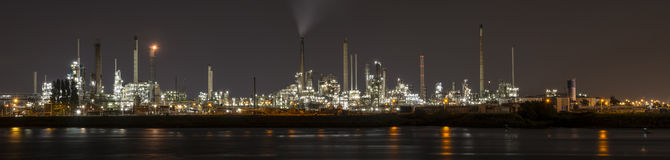 Petrochemical refinery in Botlek, Rotterdam. Panorama by night of a Petrochemical refinery in Botlek, Rotterdam Stock Images