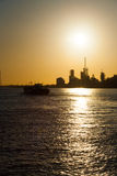Petrochemical Refinery Climate Change Sunset V Royalty Free Stock Images