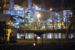 Petrochemical refinery at night Royalty Free Stock Image