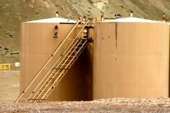 Petrochemical Tanks. In a mountain setting in rural Utah Royalty Free Stock Images