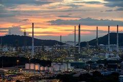 Petrochemische cityscape van de de fabrieksinstallatie van de olieraffinaderij van Chonburi-provincie royalty-vrije stock foto
