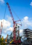 Petrochemisches Werk im Bau stockbild