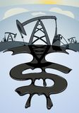 Petrodollars. Dollar sign from oil spill amid oil Royalty Free Stock Photo
