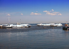 Petrodvorets. Meteors (water taxi) in the Gulf of Finland wait for passengers Stock Photos