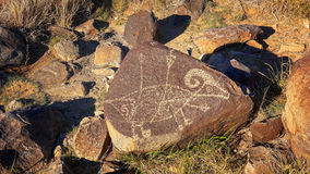 Petroglif przy Trzy rzek petroglifu miejscem w Nowym - Mexico, usa Zdjęcia Royalty Free