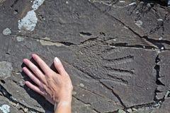 Petroglif ręka Altai Fotografia Royalty Free